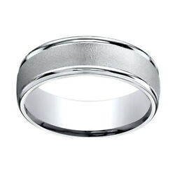 14k White Gold 7mm Comfort-fit Wired-finished High Polished Band Ring Sz-9