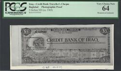 Iraq- Credit Bank Traveller's Cheque Bagdad 5 Dollars 20-2-1969 Photograph Proof