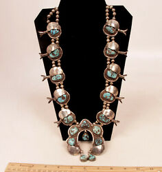 Navajo Sterl Silver Squash Blossom Turquoise 31 1/2 Long C1970 By Eugene Belone