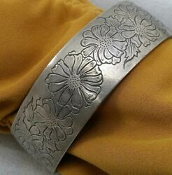 Vintage Kirk Stieff Etched Flower Of The Month Aster Pewter Cuff Bracelet