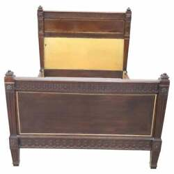 19th Century Italian Louis Xvi Style Carved Walnut Antique Bed