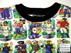 VERSACE J COUTURE VINTAGE '96 DOGS PRINTED TOP T-SHIRT MEN PUPPY FOX CIRCUS