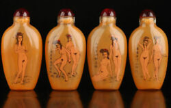 Collectable Four Glass Wonderful Naked Woman Inside Painted Snuff Bottle Jj