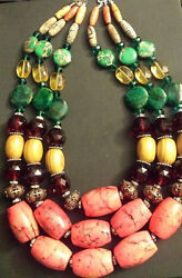 Big Bold Chunky Exotic Tropical Beaded Multi Strand Statement Necklace Dramatic