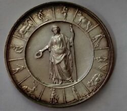 1878 German Germany Farm Livestock Agriculture Service Medal Silver Coin Ceres