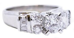 2.07 Carats Past Present And Future 14 Kt White Gold Diamonds Ring Exceptional