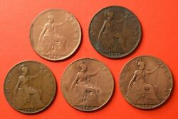 Great Britain - Set 5 X One Penny 1901-1902-1905-1907-1908        [m272]