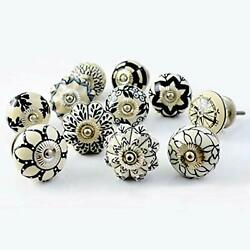 Black And White Vintage Ceramic Knobs Shabby Chic Door Handles Cabinet Pulls