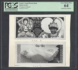 Nepal Face And Back 5 Rupees Unissued Pick Unlisted Photograph Proof Uncirculated