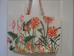 Estee Lauder White Floral with Butterfly Bird Large Tote Shopper Beach Bag *NEW*