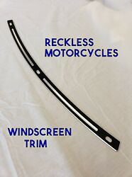 Windscreen Trim Black Steel Engraved For Reckless Motorcycles Batwing Fairing