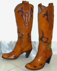New 470 Goffredo Fantini Western Brown Leather Steer Concho Knee Hi Boots8.5