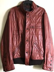 Authentic Mans Genuine Leather Jacket, Size Xl, Brown