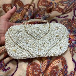 Evening Bags Women Chain Clutch Purse White Gold Beaded Handle Rhinestones $34.87