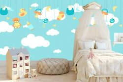 3d Green Cartoon White Cloud Doll Self-adhesive Removable Wallpaper Feature 13