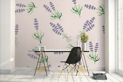 3d Purple Flowers Green Leaves Self-adhesive Removable Wallpaper Feature Wall 5