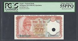 Nepal 20 Rupees Nd1982-87 P32s Specimen About Uncirculated