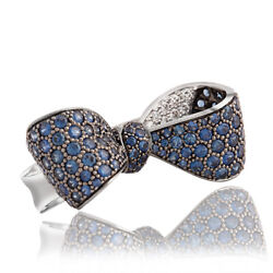 Sapphire And Diamond Bow Wedding Ring 10k White Gold