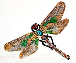 Bejeweled Dragonfly Trinket Box By, Hand Made With Enamel And Crystals