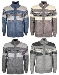 Mens Jumpers Cardigan Knitted Textured Soft Woollen Sweater Funnel Neck Jacket