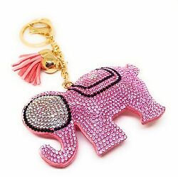Elephant Good Luck Crystal Rhinestone Keychain Purse Charm Key Ring Tassel Pink