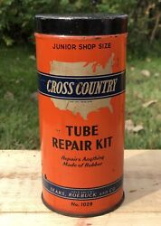 Vintage Cross Country Tube Repair Kit Tire Garage Sears Roebuck And Co Tin Can