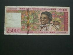 1st Issue And039aand039 Madagascar 25000 Francs Banknote