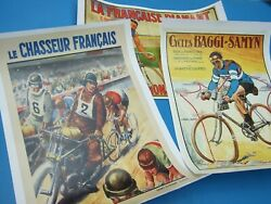 Vintage 3x French Print Sport Posters 'champions De France 'decor Collectables