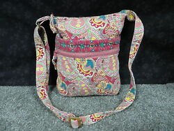 Tinsley Blake Collection Pink Multi-Color Paisley Design Quilted Crossbody Bag