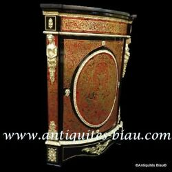 Furniture of corner Boulle Marquetry 19th Napoleon III period Perfect condition
