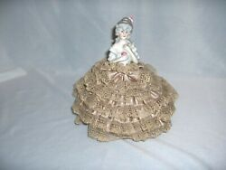 Vintage Antique French Porcelain Doll Satin And Lace Pincushion Pin Cushion Nice