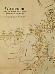 1895 Wickford And Lafayette, Ri., Map Removed From Everts And Richards Atlas Of 1895