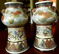 Gorgeous Pair of Japanese Satsuma vases w Chrysanthemum handles. Meiji Stamped