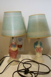 Pair Of Vintage Boudoir Lamps Colonial Man And Woman Original Shades 1950s