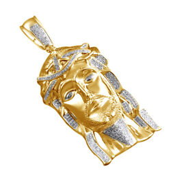 1.40 Ctw Round Natural Diamond Jesus Face Pendant 14k Yellow Gold Over Silver