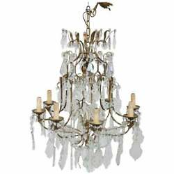 20th Century Louis Xvi Style Gilded Bronze And Antique Crystals Chandelier