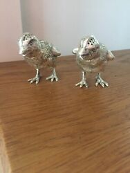 Antique Pair Of Novelty Sterling Silver Chick Pepper Shakers .800