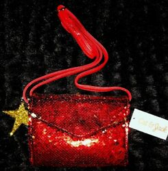 Cat & Jack Red Sequin Girls Cross Body Holiday PurseWGold Star Key Chain~NWT~