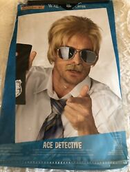 W578 Ace Detective Police Fbi 1970s 1980s News Reader Costume Wig With Moustache