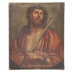 17th Century Italian Artist Antique Oil On Canvas Jesus With The Crown Of Thorns
