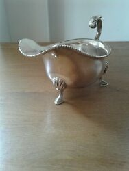 Antique Solid Silver Sauce Boat Of Large Size Sheffield 1938