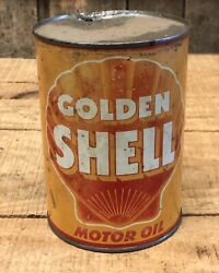 Vintage Golden Shell Motor Oil 1 Qt Gas Service Station Tin Can Sign