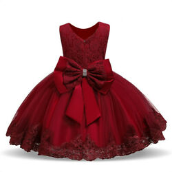 Baby Dress Lace Flower Red Christmas Party Wedding Gown  Kids Girls Clothes