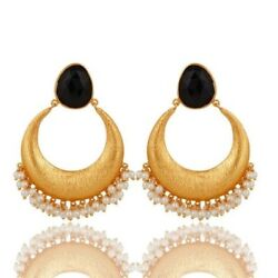 18K Gold Plated Sterling Silver Black Onyx Pearl Ethnic Dangle Earrings Jewelry