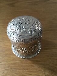 Antique Solid Silver Chased Round Box Unmarked Tests As .925 C1890