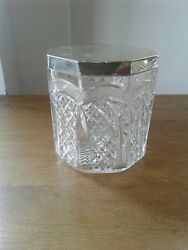 Wonderful Cut Glass Solid Sterling Silver Mounted Air Tight Lid Biscuit Barrel B