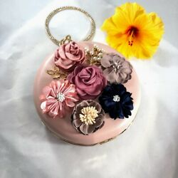 Evening Bags Women Round Clutch Purse Pink Gold Beaded Handle Flowers Chain $32.00