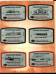 Set 12 1984 Safety Midwestern Region Consol Coal Co. Coal Mining Stickers 970