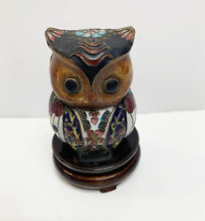 Vintage Small Chinese Cloisonne Owl Bird Figurine Etched In Brass On Wood Stand