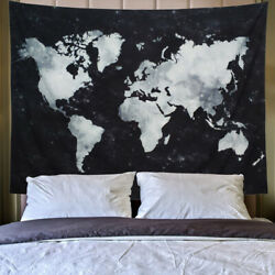 World Map Printed Tapestry Starry Night Sky Mat Apartment Home Wall Hanging Mat